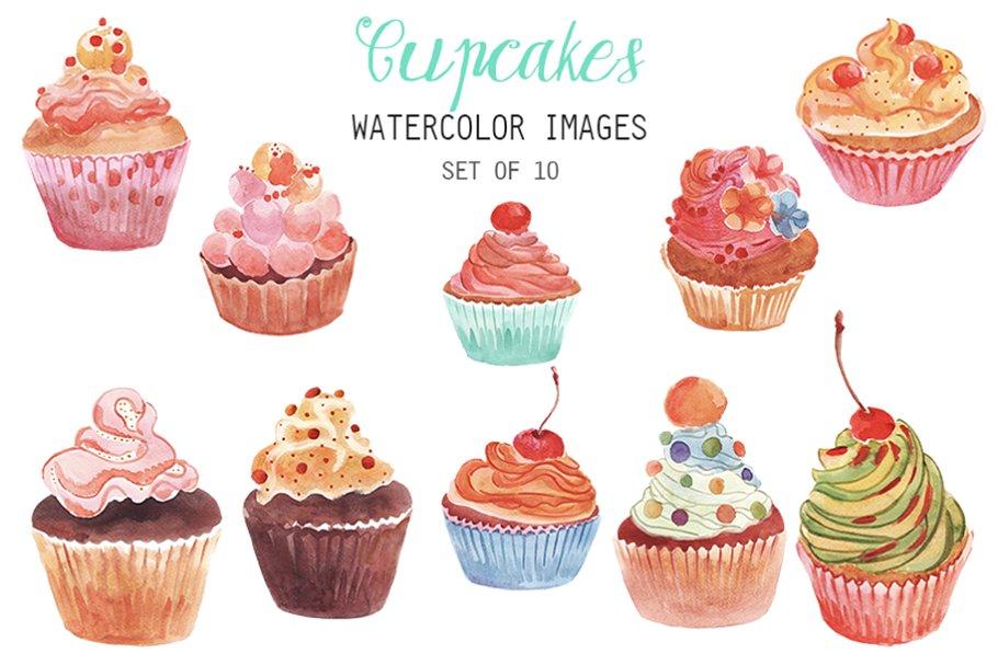Watercolor Cupcakes Clipart.