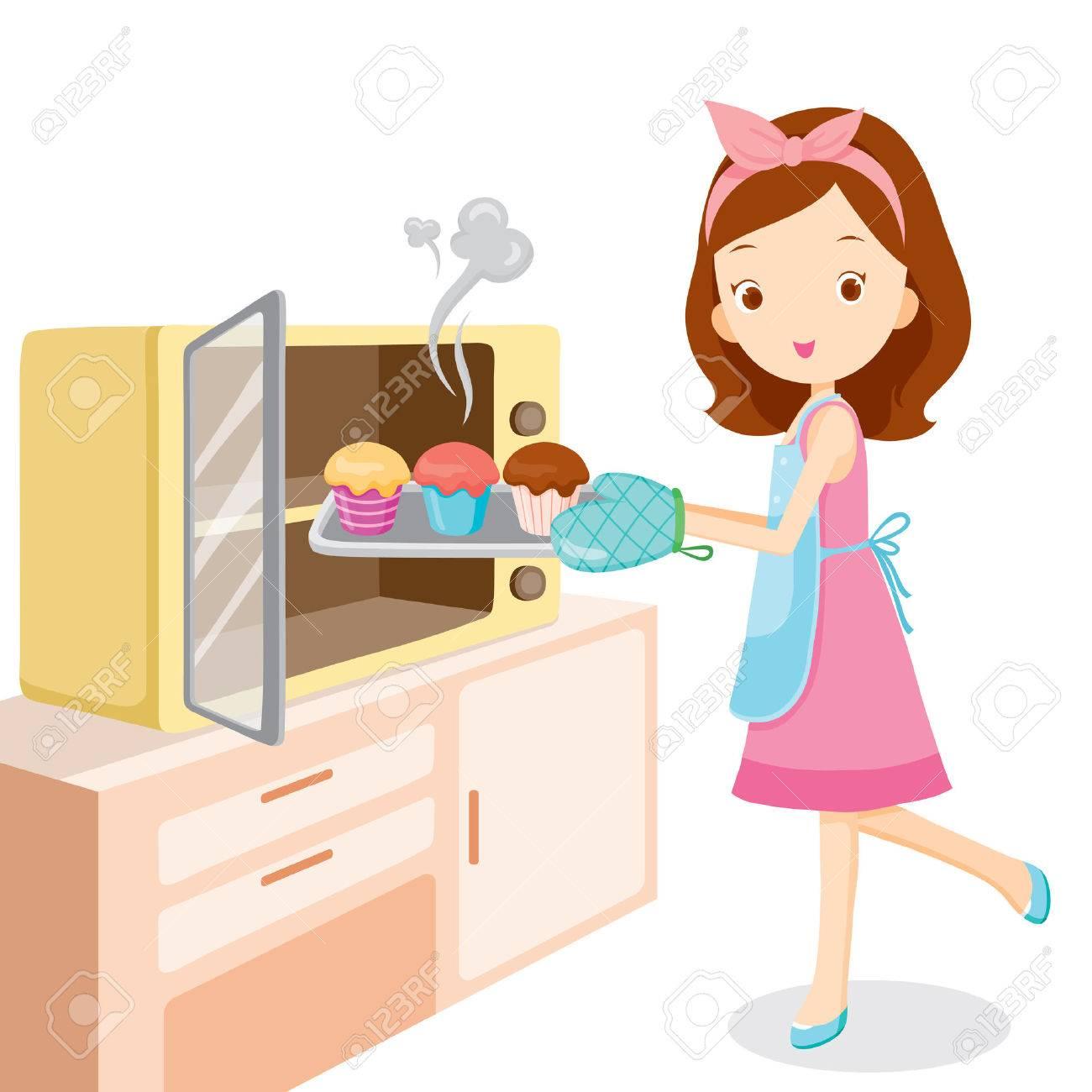 Girl Baking Cupcake, Kitchen, Kitchenware, Crockery, Cooking,...