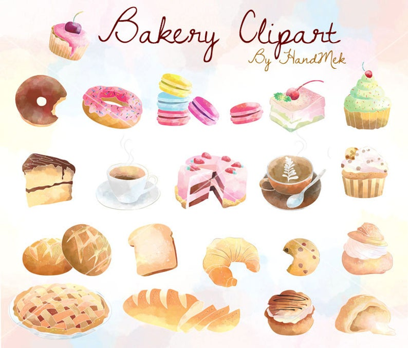 Bakery Clipart , Cupcakes Clipart ,Sweets Dessert Clipart Instant Download  PNG file.