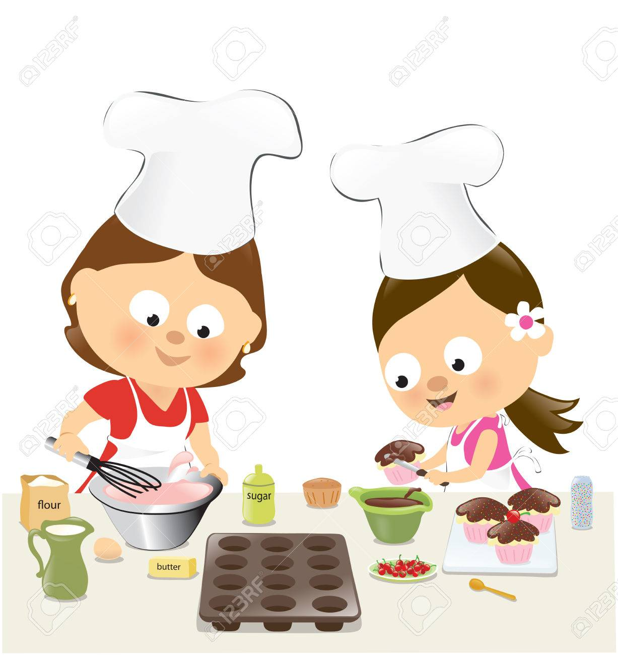 Mother and daughter baking cupcakes.