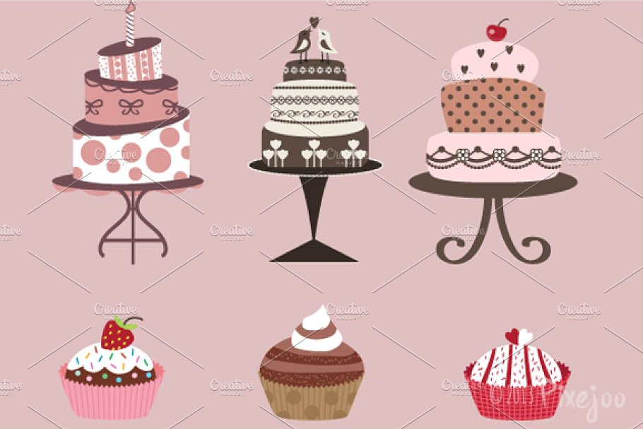 Cakes and Cupcakes Clipart in Vector.