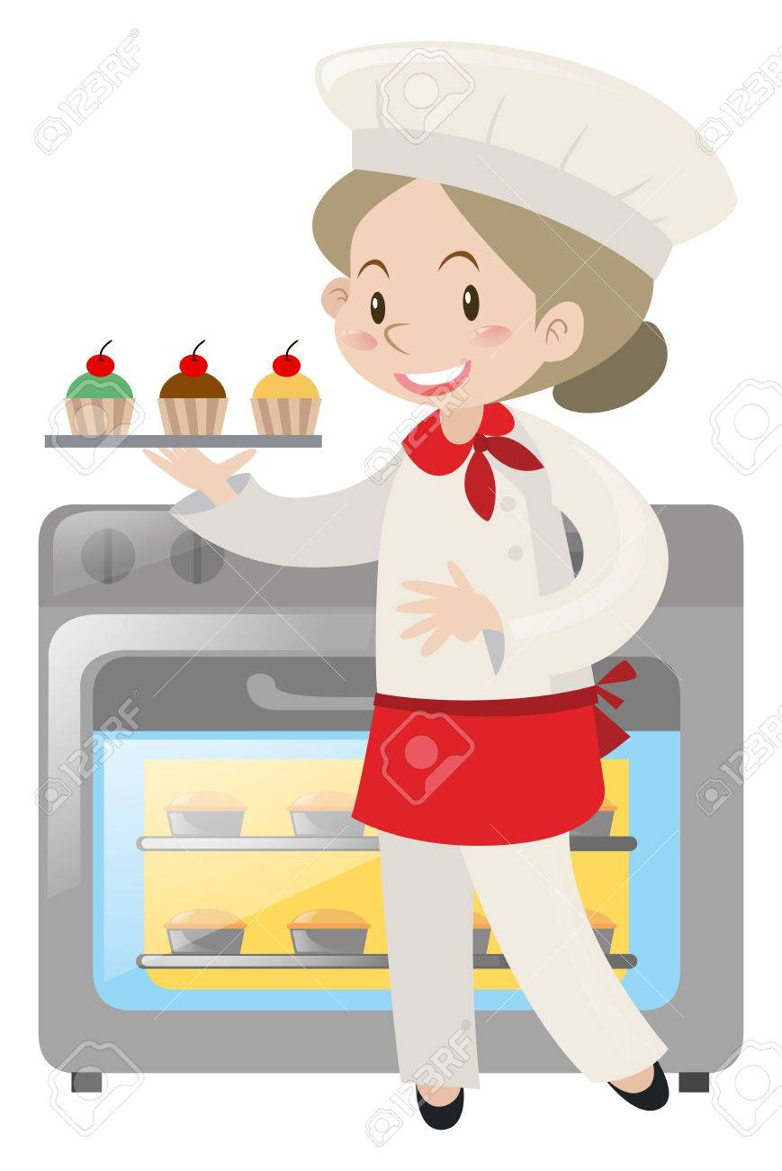 Baker baking cupcakes in oven illustration.