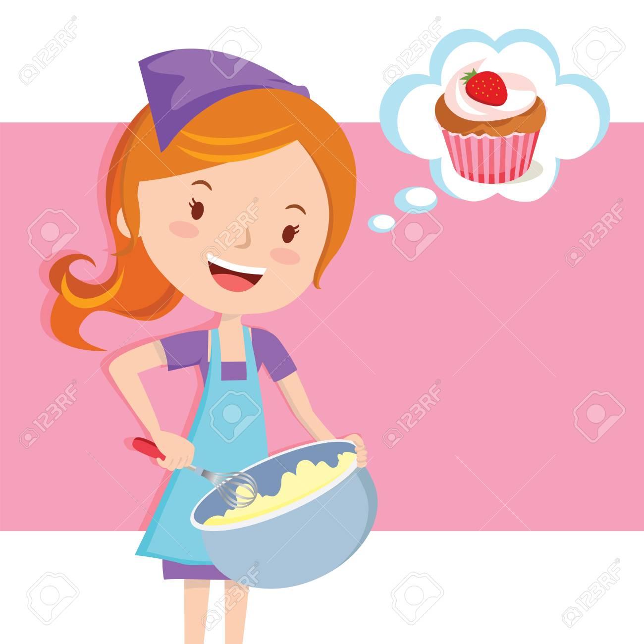 Girl baking cupcake.