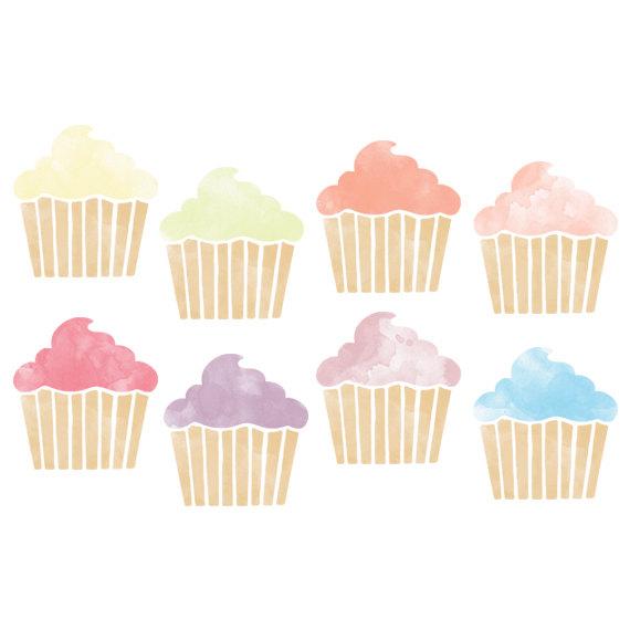 Watercolor Cupcake Clipart // Planner Clipart // Baking Clip Art.