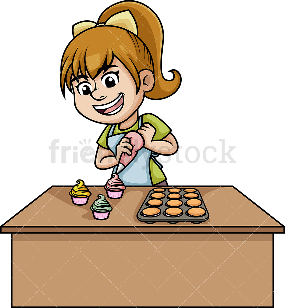 Woman Making Cupcakes With Frosting.