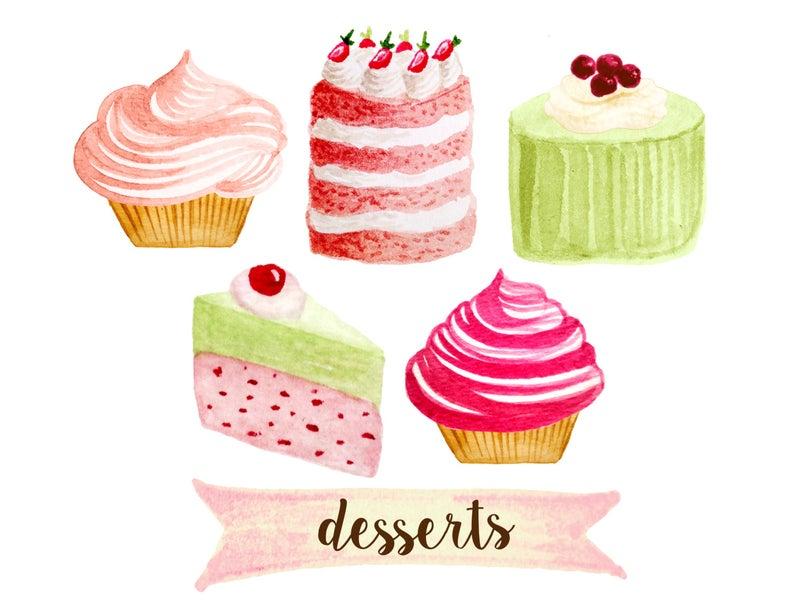 Cupcake clipart, bakery clipart, tea party clipart, cakes clipart, desserts  clipart, shabby chic clipart, watercolor cupcakes clipart.
