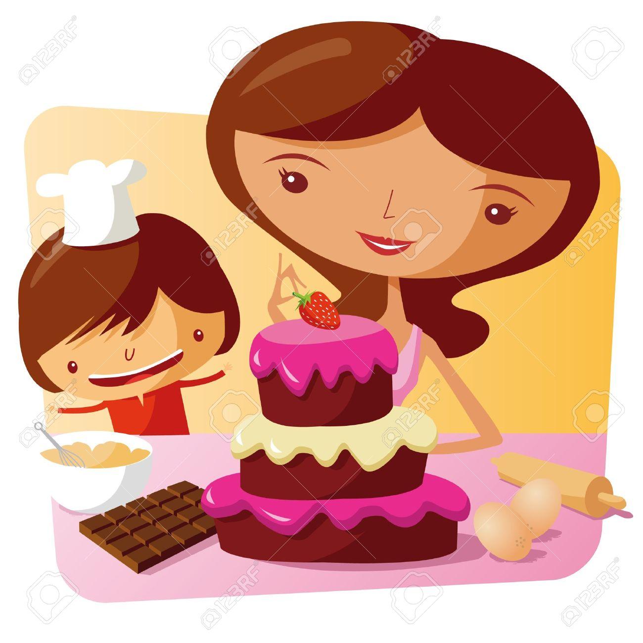 Mum Making Cake Clipart