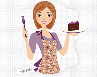 Chocolate Cake Girl Baking And Eat Ing Digital Png Clip Art.