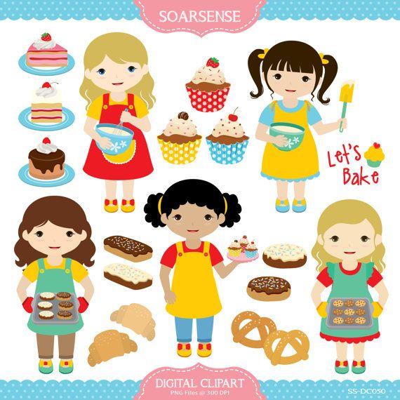 Baking Girl Clipart by soarsense on Etsy, $5.00.