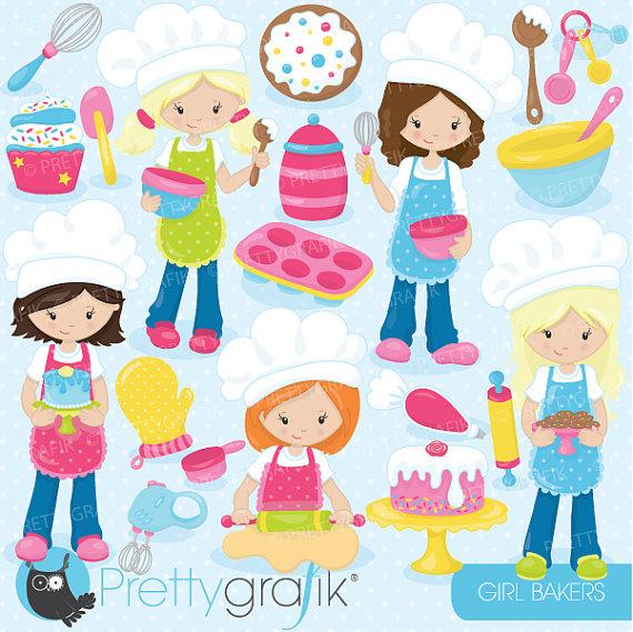 baking girls clipart commercial use vector by Prettygrafikdesign.