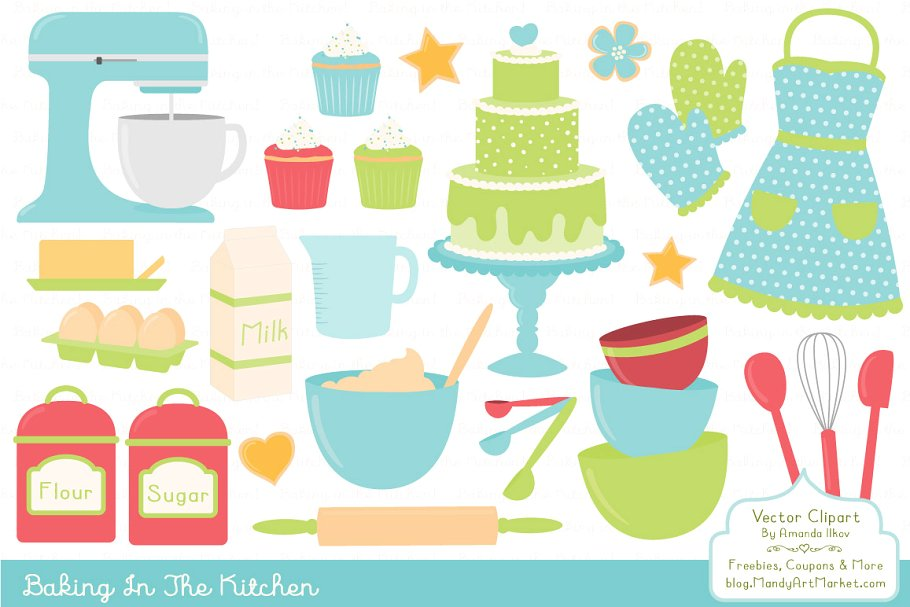 Bright Baking Kitchen Vector Clipart.