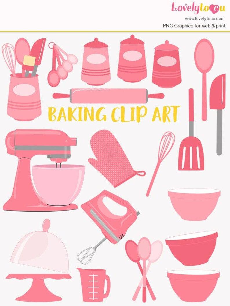 Baking clip art set, baker, kitchen baking utensils, mixer clipart (LC25).