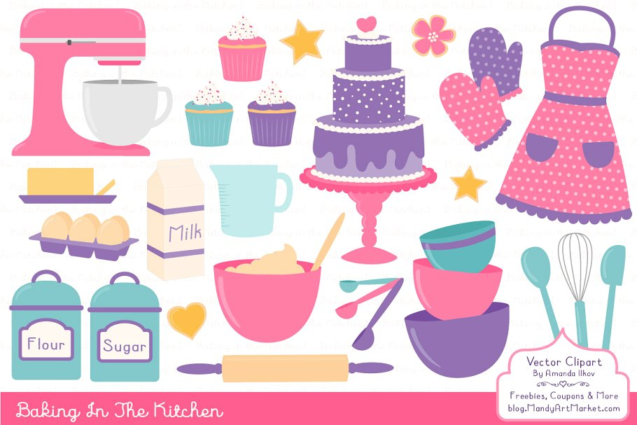 Baking In the Kitchen Clip Art ~ Illustrations ~ Creative Market.