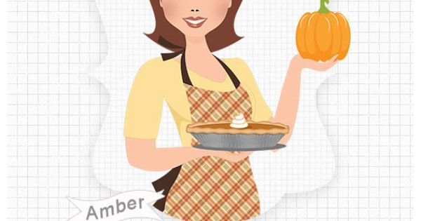 Woman baking pumpkin pie, digital PNG clipart (Amber 471) by.