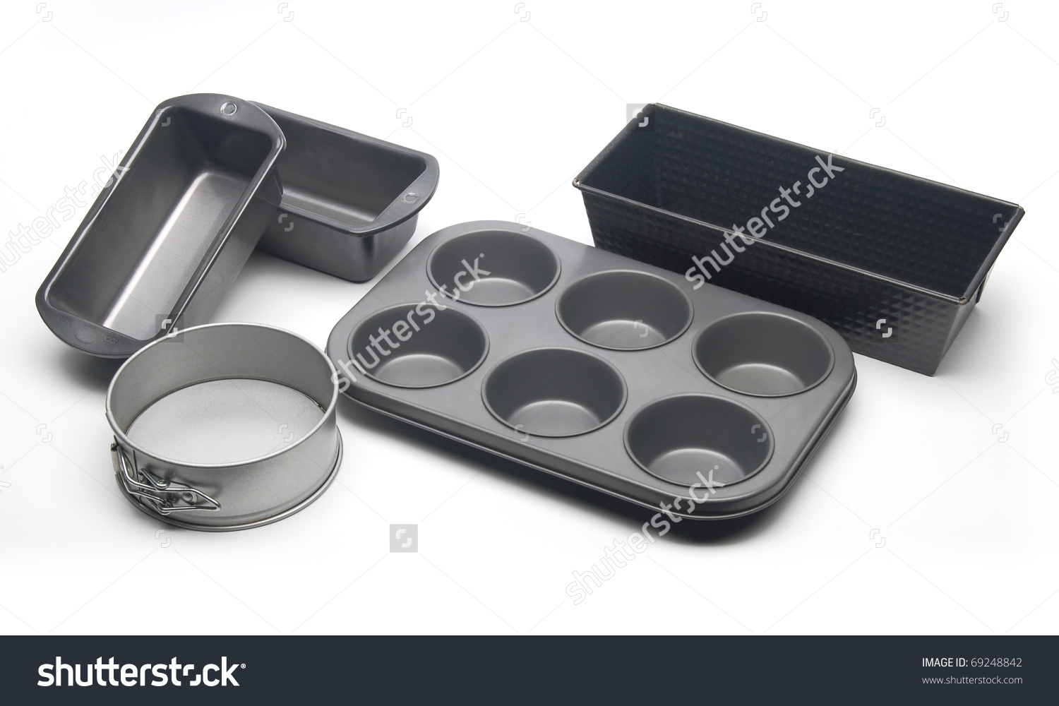 Different Types Baking Pans Moulds Cake Stock Photo 69248842.