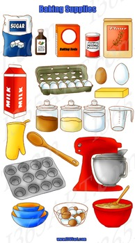 Baking Tools and Supplies Clipart 20 Pack PNG Format Digital Graphics.