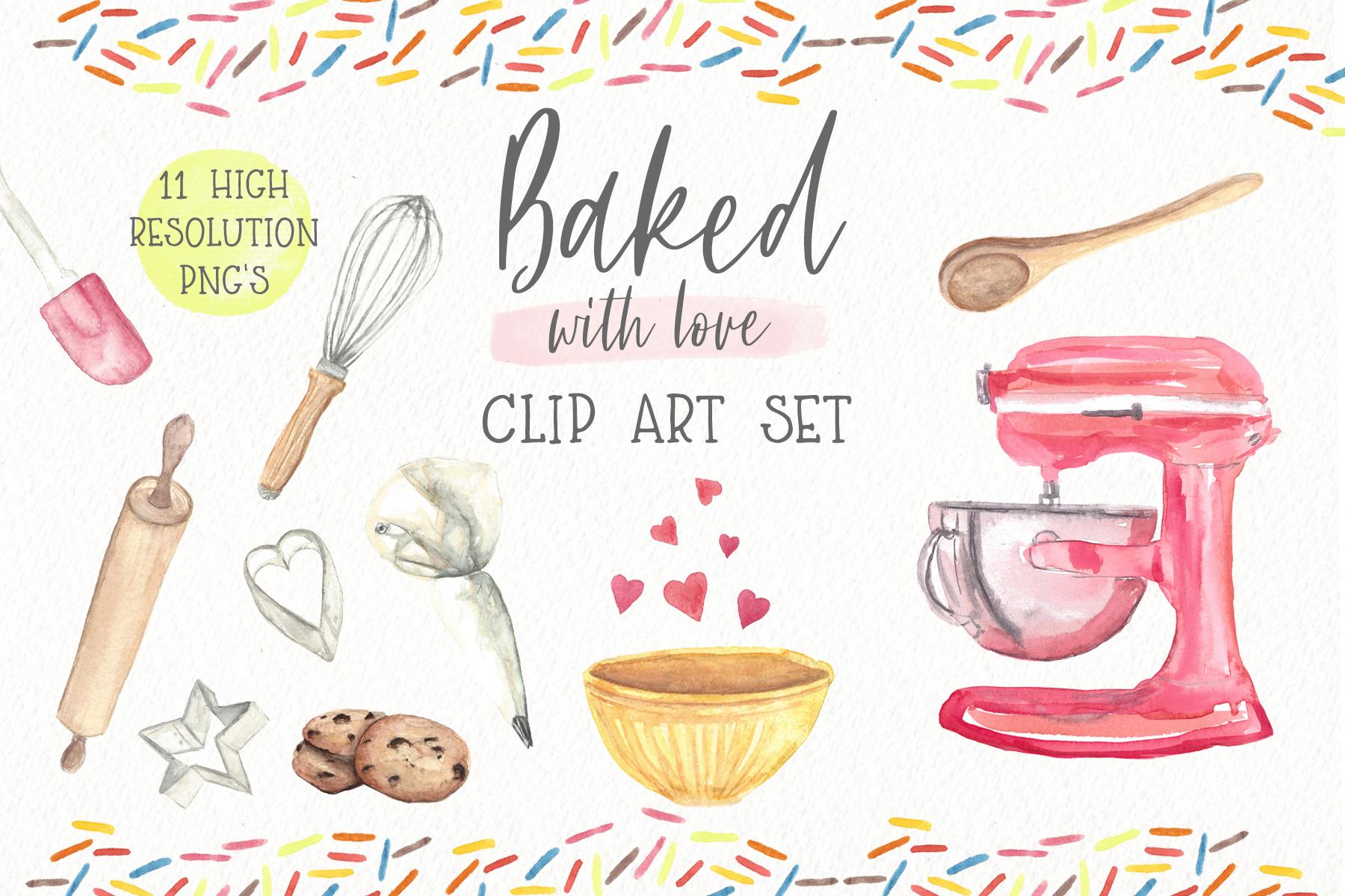 Baking Watercolor Clipart.
