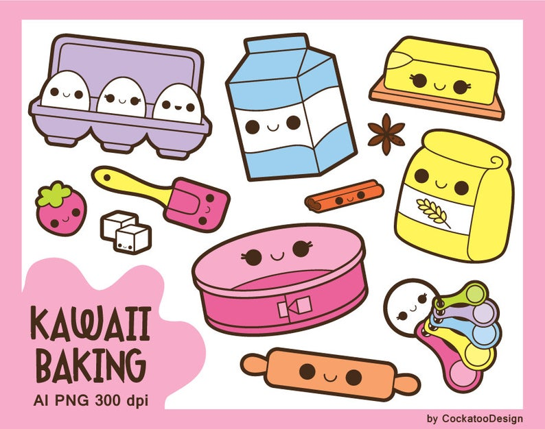 Kawaii baking clipart, kawaii cooking clipart, kawaii groceries clip art,  kawaii food clipart, kawaii kitchen clip art, baking tools clipart.