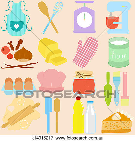 Baking Tools in Pastel Clip Art.