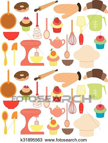 Vector of Bakery tools Clipart.