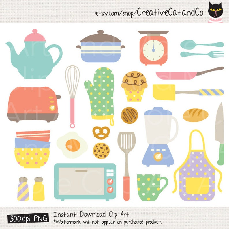 Cooking Tools Clipart, Cute Kitchen Items, Kitchen Tools, Chef, Bakery,  Baking Tools, Clipart, Clip Art, Commercial Use.