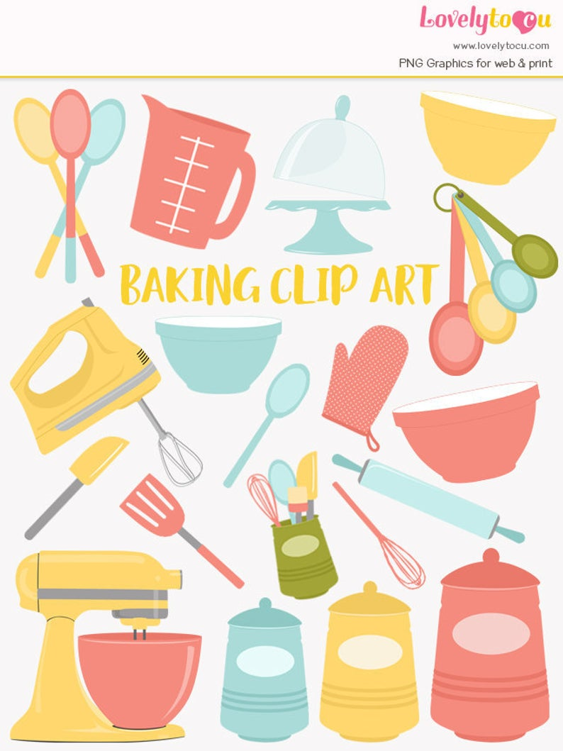 Baking clipart, kitchen baking utensils, mixer clipart, baker, bakery, bake  set, kitchen blogger graphics, retro bright style colors (LC76).