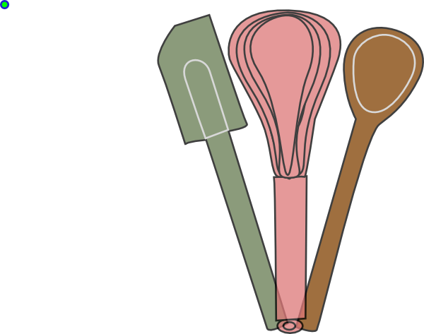 Baking Utensils Green Pink Brown Clip Art at Clker.com.