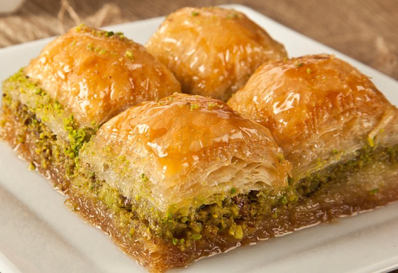 Baklava with pistachios.