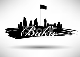 Baku Skyline With Typographic Design stock vectors.
