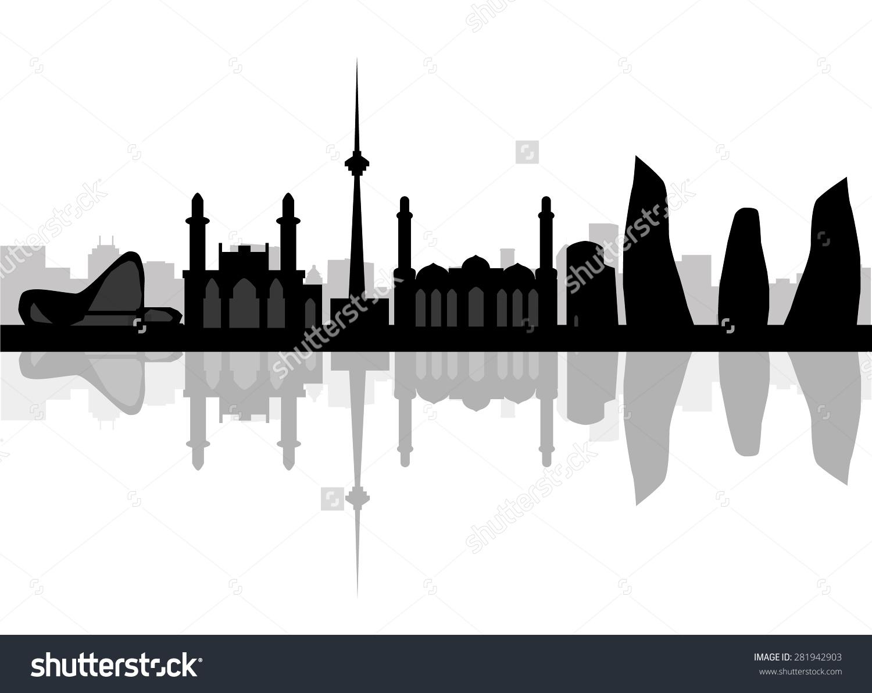 Baku Skyline Typographic Design Stock Vector 281942903.