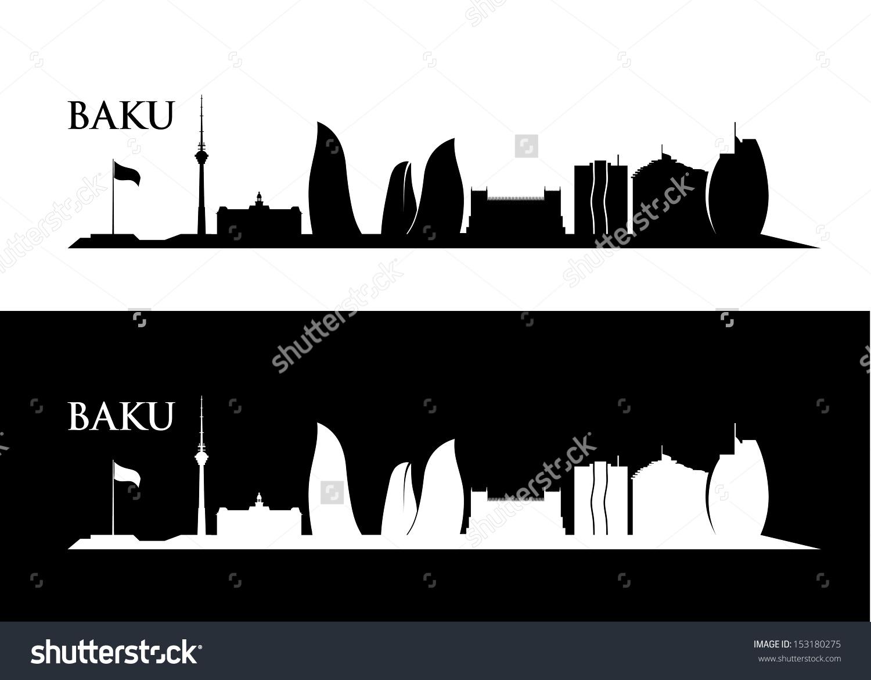 Baku Skyline Vector Illustration Stock Vector 153180275.