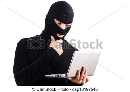 Stock Photo of Hacker with computer wearing balaclava csp13197548.