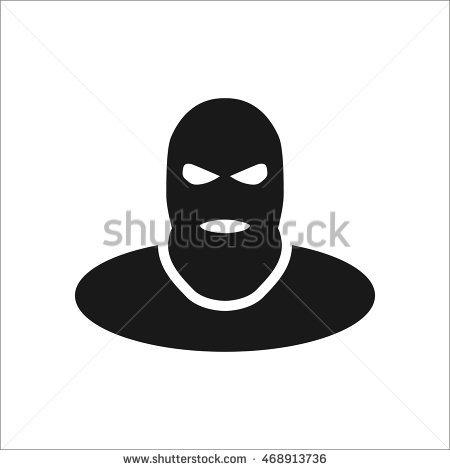 Terrorist Thief Balaclava Symbol Sign Simple Stock Vector.