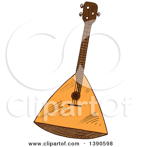 Clipart of a Happy Balalaika Instrument.