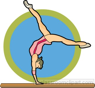 Gymnastics on clip art pictogram and balance beam.
