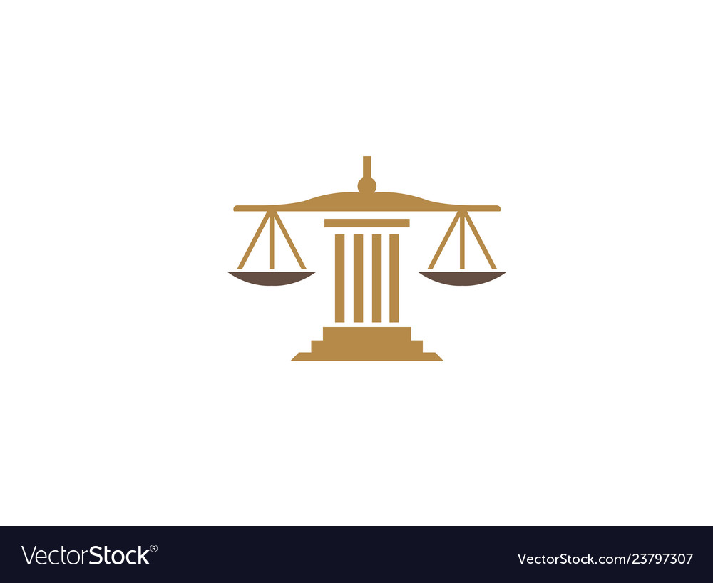 Balance scales on a law building justice for logo.