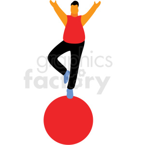 cartoon man balancing on ball flag vector clipart . Royalty.