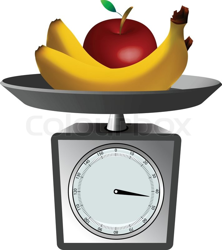 Weighing Scale With Fruits Clipart.