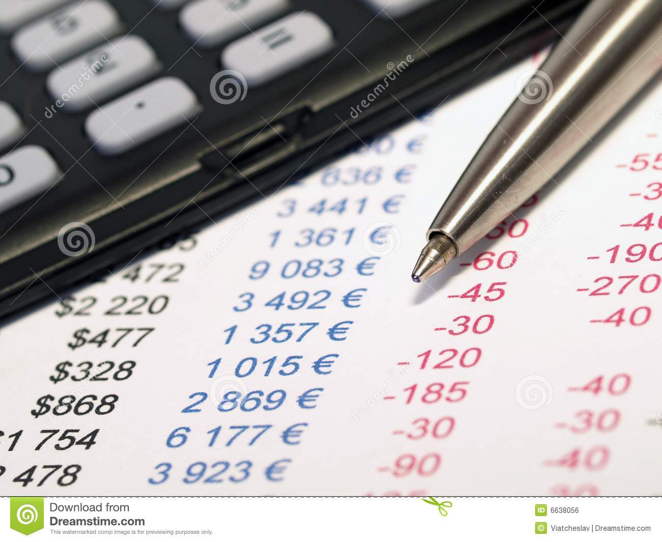 Calculator And Pen With Balance Sheet Royalty Free Stock Images.
