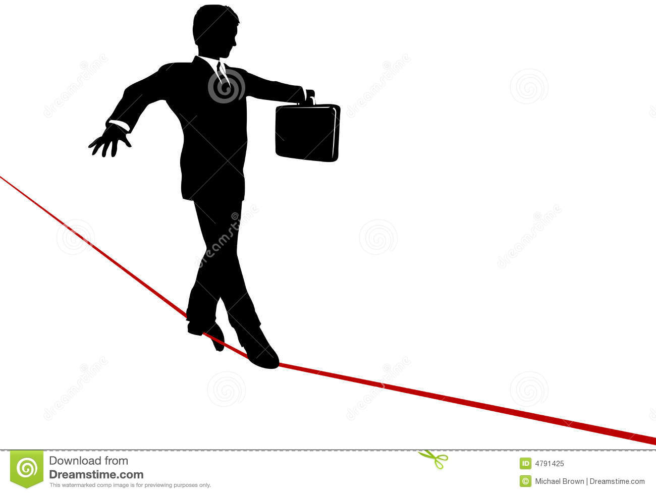 Business Man Balance Act On Risk Tightrope Royalty Free Stock.