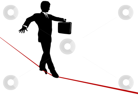 Business Man Balance Act on Risk Tightrope stock vector.
