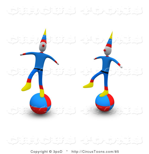 Circus Clipart of Two Circus Clowns Performing a Balancing Act on.