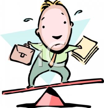 Cartoon of a Businessman Doing a Balancing Act.
