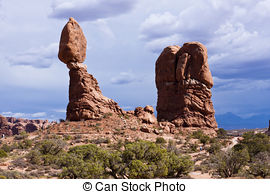 Stock Photo of Balanced Rock is a natural rock feature Arches.