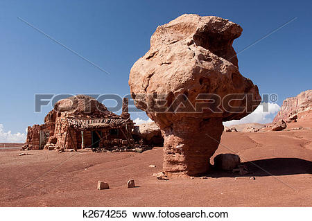 Stock Image of Native American cliff dwellings and Balanced Rock.