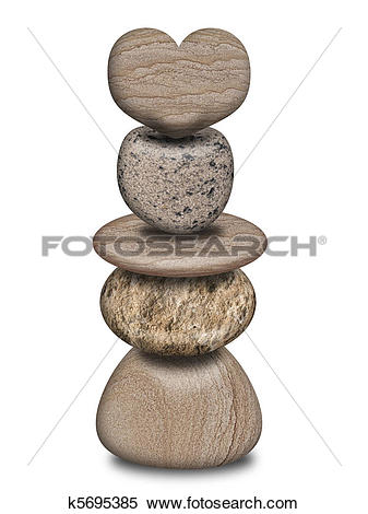 Stock Illustration of Stack of Balanced Rocks with Heart k5695385.