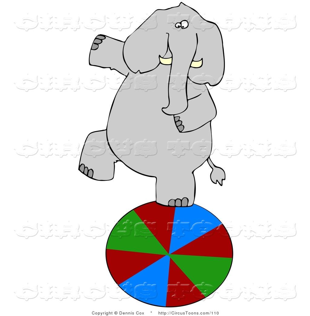 Elephant balancing on a ball clipart.