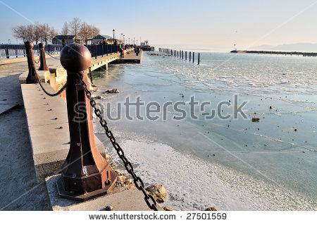 Frozen Lake Balaton January Balatonfured Hungary Stock Photo.