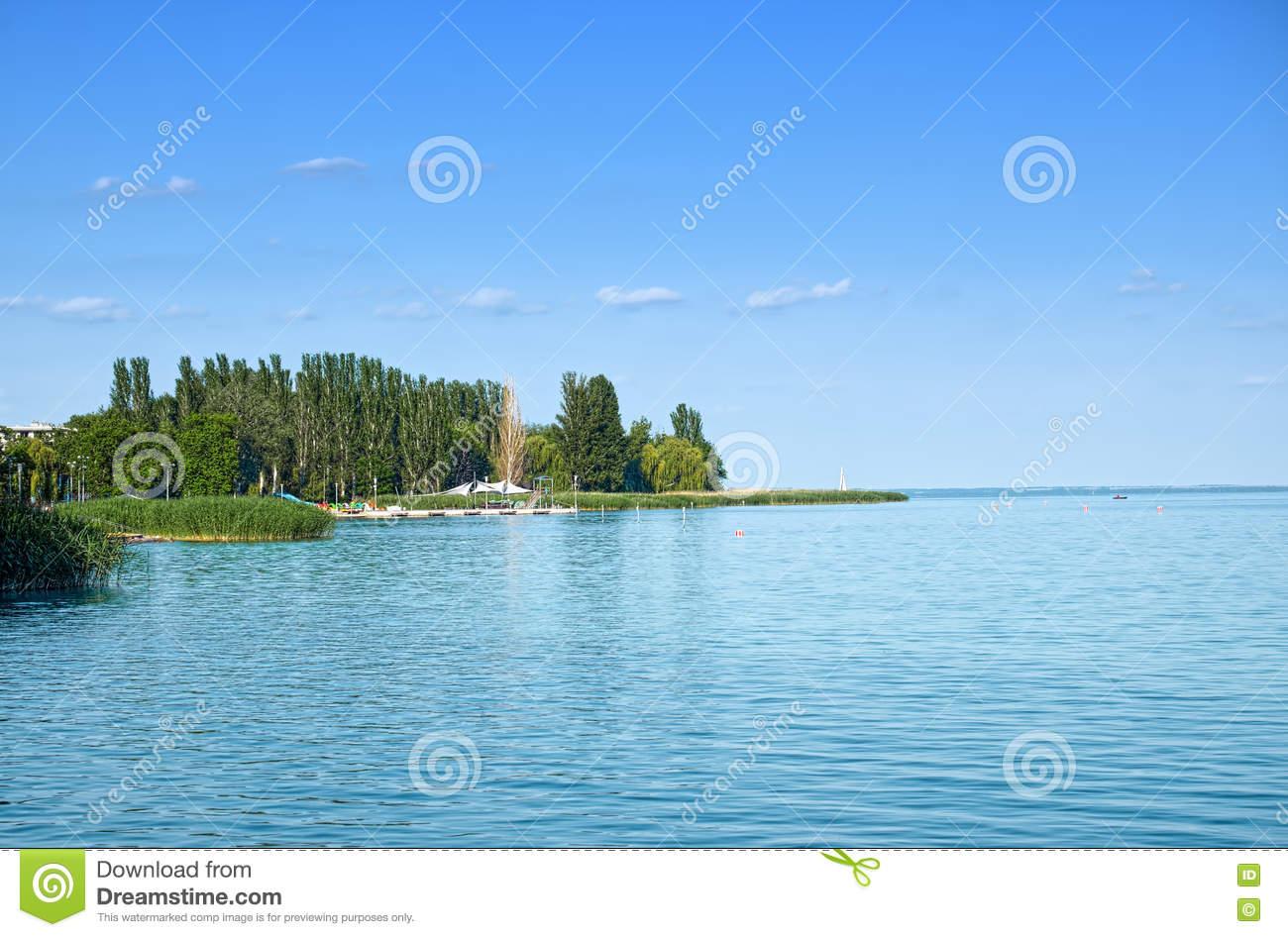 View Of Balaton Lake, Hungary, At Side Of Balatonfured Town Stock.