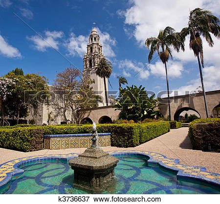 Picture of California Tower from Alcazar Gardens in Balboa Park.